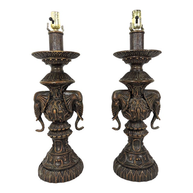 Vintage Anglo Indian Bronze Style Patinated Elephant Table Lamps - a Pair For Sale