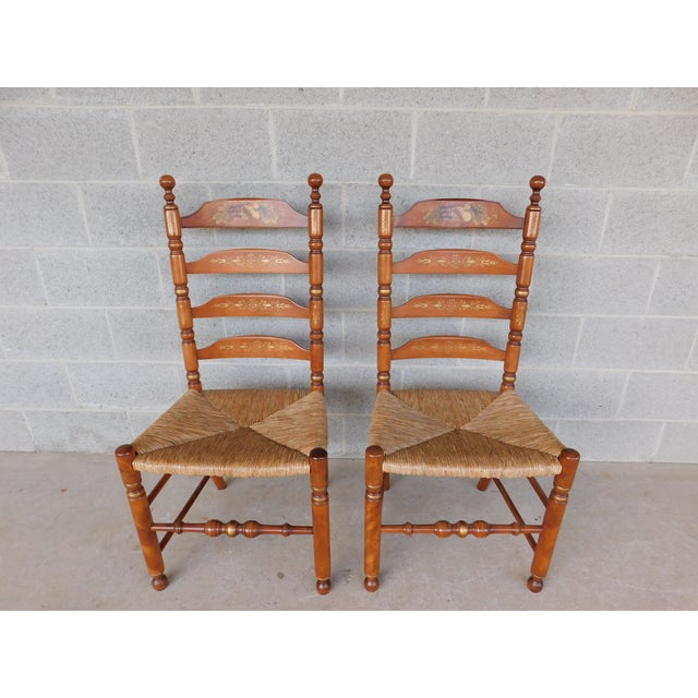 L Hitchcock Harvest Stenciled Ladder Back Rush Bottom Chairs - a Pair For Sale - Image 13 of 13