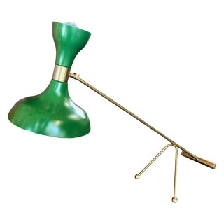 Midcentury Stilnovo Adjustable Green Table Lamp in Brass, Italy, 1960s For Sale