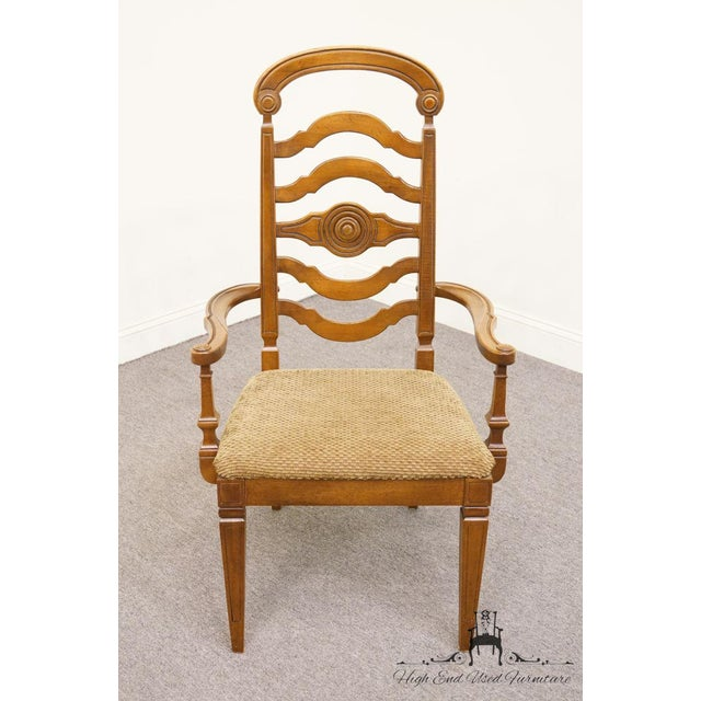 Italian Thomasville Furniture Italian Provincial Tuscan Dining Arm Chair For Sale - Image 3 of 10