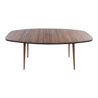 Mid Century Modern Walnut Butcher Block Dining Table For Sale