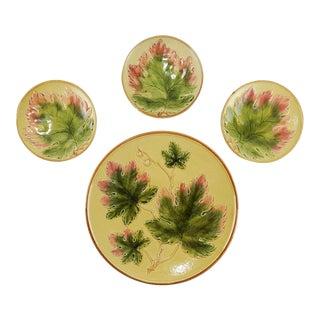 Grape Leaf German Majolica Plates - Set of 4 For Sale