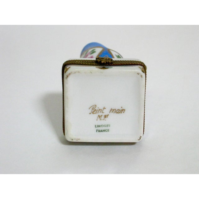Ceramic Limoges French Hand Painted Trinket Box For Sale - Image 7 of 7