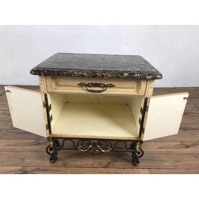 Rococo Vintage French Rococo Style Carved & Painted Wood Marble Top Sideboard For Sale - Image 3 of 11
