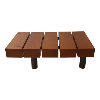 Contemporary Minimalist Wood and Patinated Steel Coffee Table by Scott Gordon For Sale
