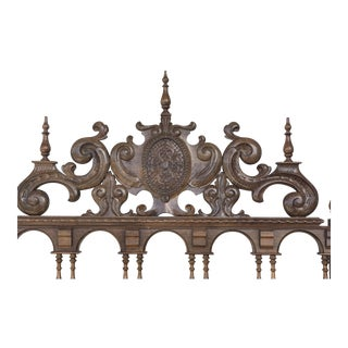 20th Century Baroque Style King Size Headboard in Carved Walnut For Sale