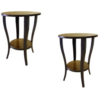 Transitional Melange Round Wooden End Tables - a Pair For Sale