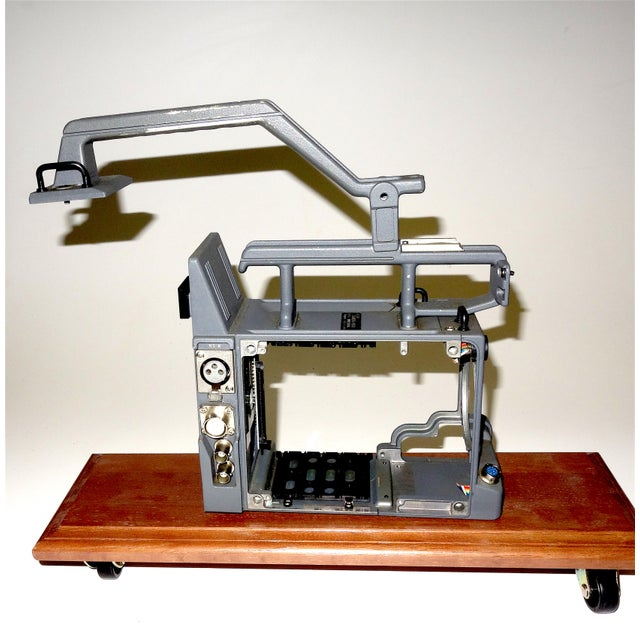 Submitted for you perusal is this Vintage Betacam Video Camera Empty Chassis Frame Only, for Display. On Wood Base. A...