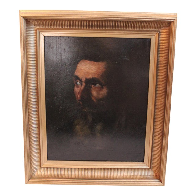 Vintage Portrait of a Man Painting - Image 1 of 5