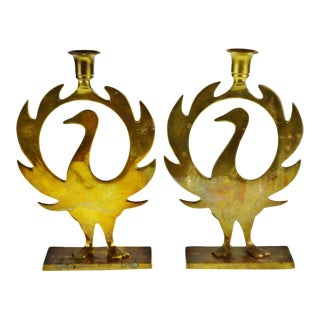 Vintage Brass Phoenix Candle Holders - a Pair For Sale