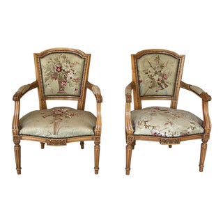 Pair of Louis XVI French Aubusson Tapestry Fruitwood Armchairs For Sale