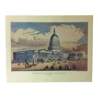 "Currier & Ives American Print, ""United States Capitol"" by Crown Publishers, Circa 1950 For Sale"