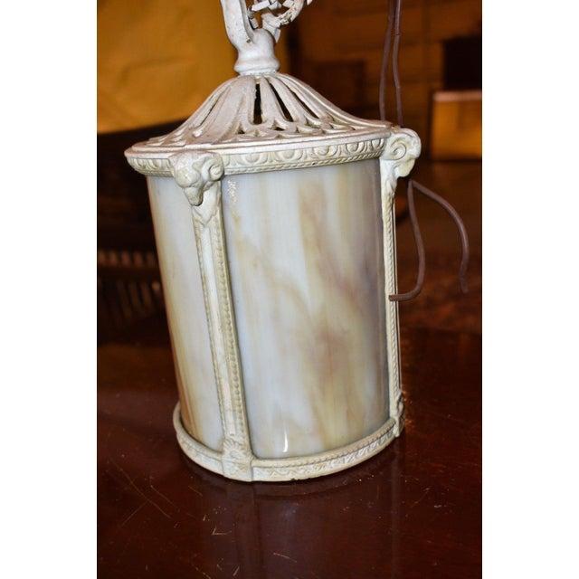 Antique Arts & Crafts Style Slag Glass Hanging Light Fixture For Sale - Image 6 of 7