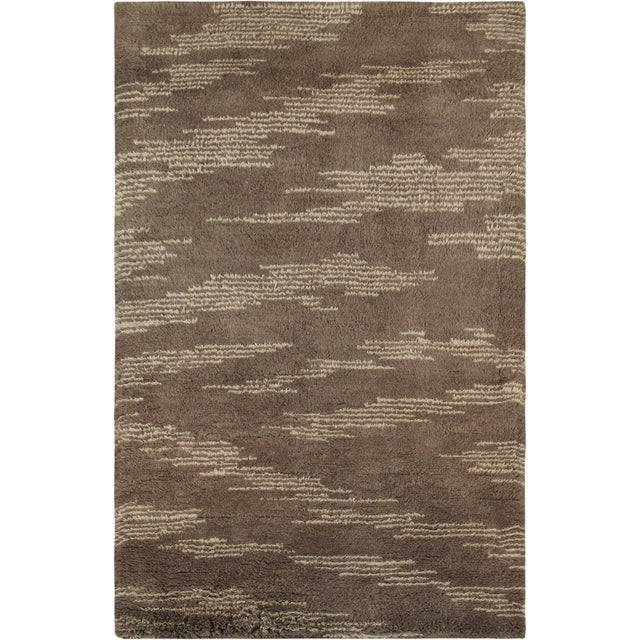 Moroccan Shag Style Wool Area Rug - 5' x 8' - Image 1 of 4