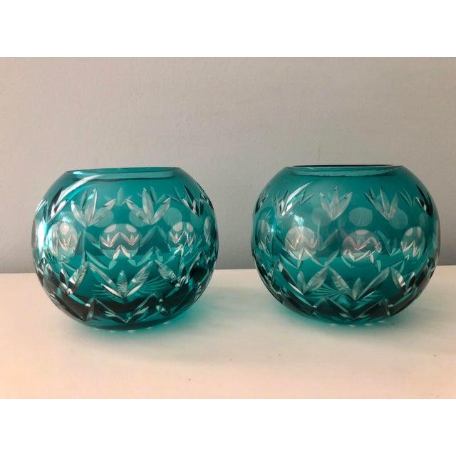Czech Bohemian Aqua Crystal Votives-A Pair For Sale - Image 4 of 5