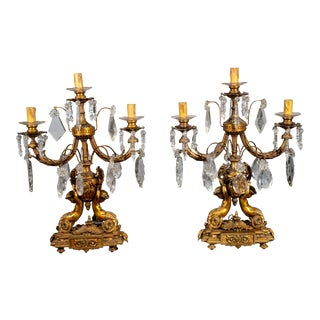 Circa 1890 French Bronze and Crystal Candelabras - a Pair For Sale