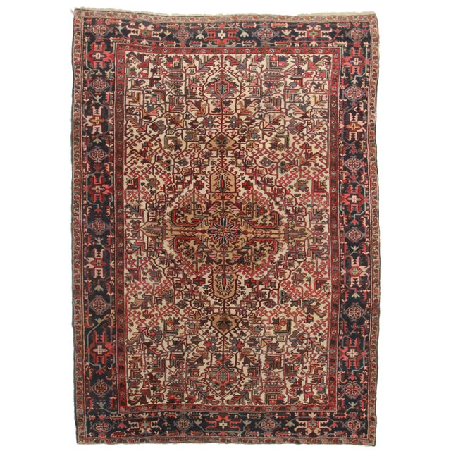 Hand Knotted Persian Heriz Rug - 7′7″ × 10′9″ For Sale