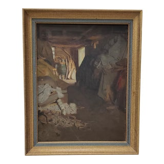 """Late 19th C. To Early 20th C. """"Barn / Workshop Interior"""" Original Oil Painting For Sale"""