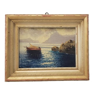 """Beautiful Oil Painting """"Capri in March"""" Impressionist Coastal Landscape C.1950 with Frame For Sale"""
