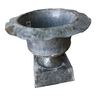 Rustic Galvanized Urn Planter For Sale