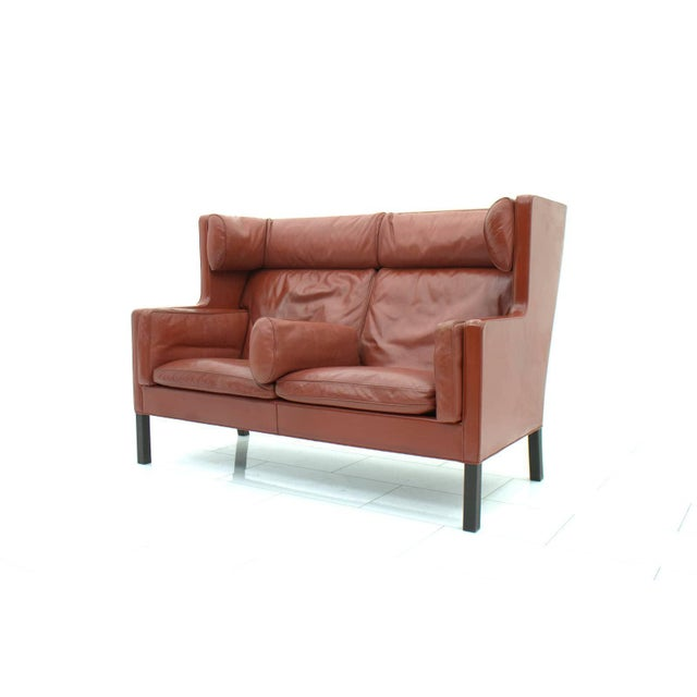 Danish Modern One of Two Børge Mogensen Coupe Leather Sofa 2192 Made by Frederica, Denmark For Sale - Image 3 of 10