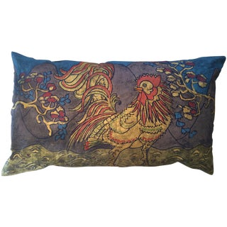 Rooster Sateen Linen Pillow For Sale