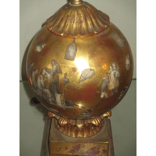 Vintage Italian Reverse Painted Table Lamp With Oriental Scenes For Sale In Tampa - Image 6 of 13