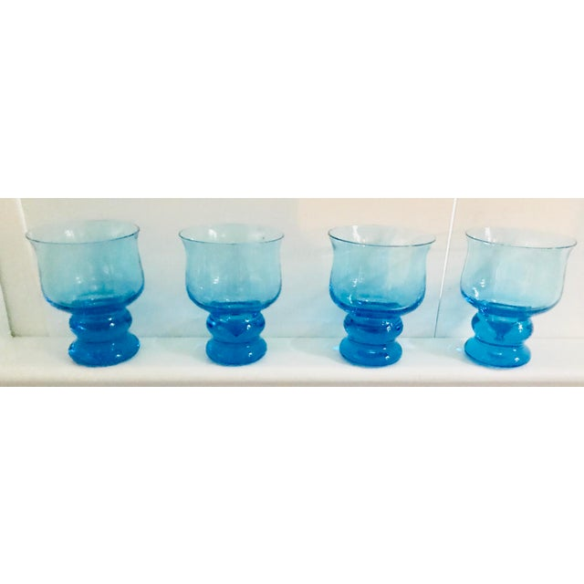 Blue Vintage Hand Blown Rocks Glasses Aqua Blue Turquoise - Set of 4, (10 Available) For Sale - Image 8 of 11