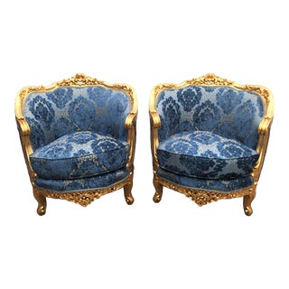 1950s French Louis XVI Chairs With Damask Fabric - a Pair For Sale