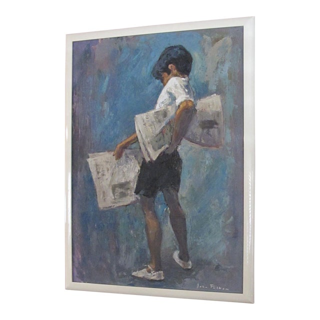 1970s Vintage John Fulton Short Boy Matador With Newspaper Oil Painting For Sale