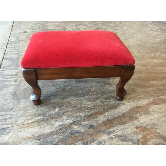 Vintage Red Upholstered Foot Stool - Image 8 of 8