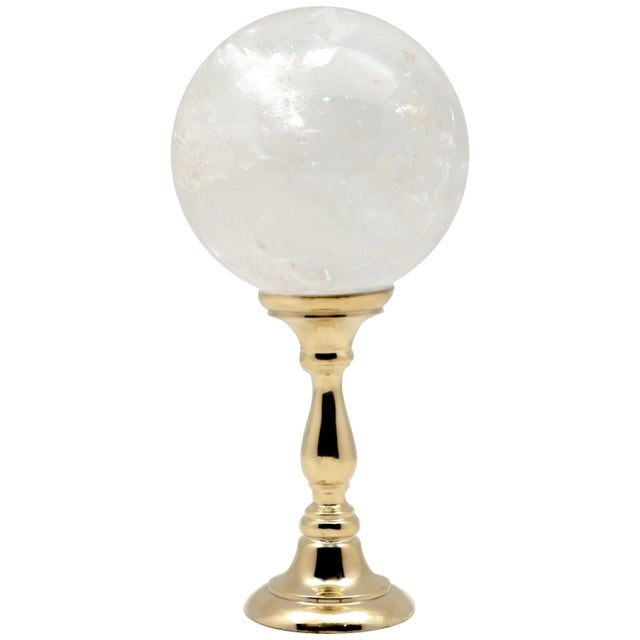 Brass Mounted Rock Crystal Sphere Large For Sale In New York - Image 6 of 6
