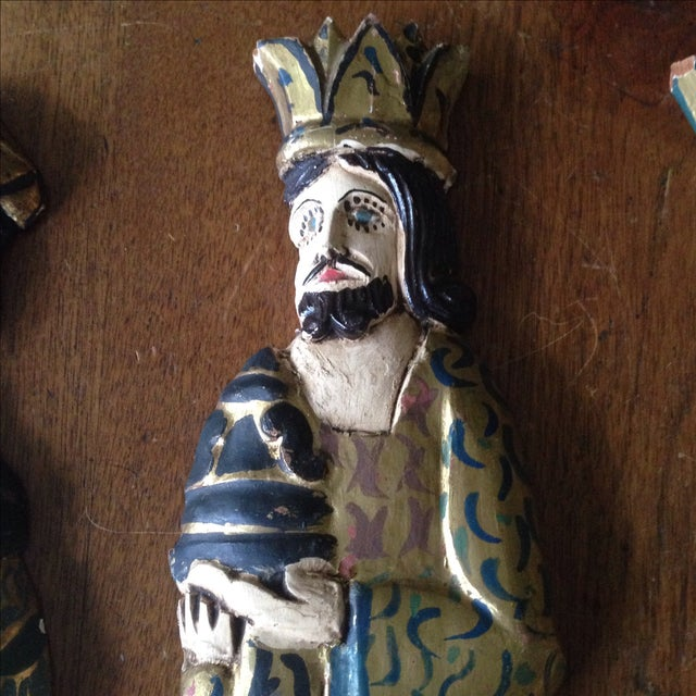 Folk Art Wooden Three Kings Wall Hangings - Set of 3 - Image 4 of 11