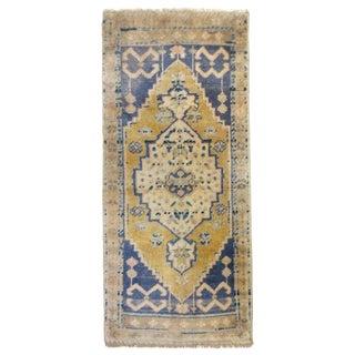 Vintage Turkish Blue Runner-1'10'x3'11' For Sale