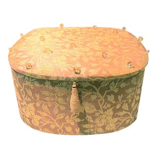 Vintage Pink Padded Fabric with Sewn Bead Detail Jewelry Box For Sale