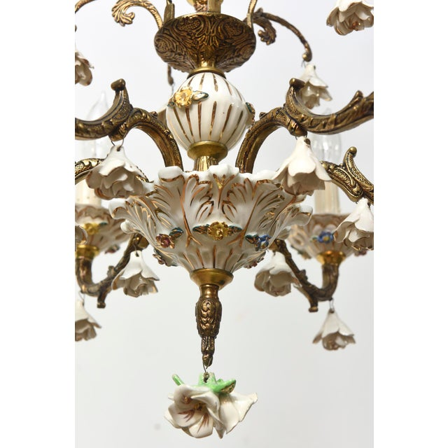Six Light Italian Porcelain and Brass Chandelier - Image 3 of 4