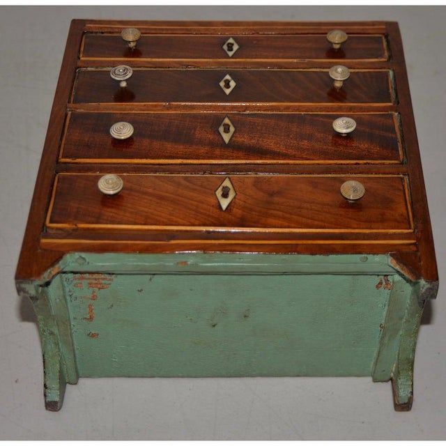 Burgundy Rare 19th Century Miniature Mahogany Salesman Sample Chest of Drawers W/ Inlay For Sale - Image 8 of 11