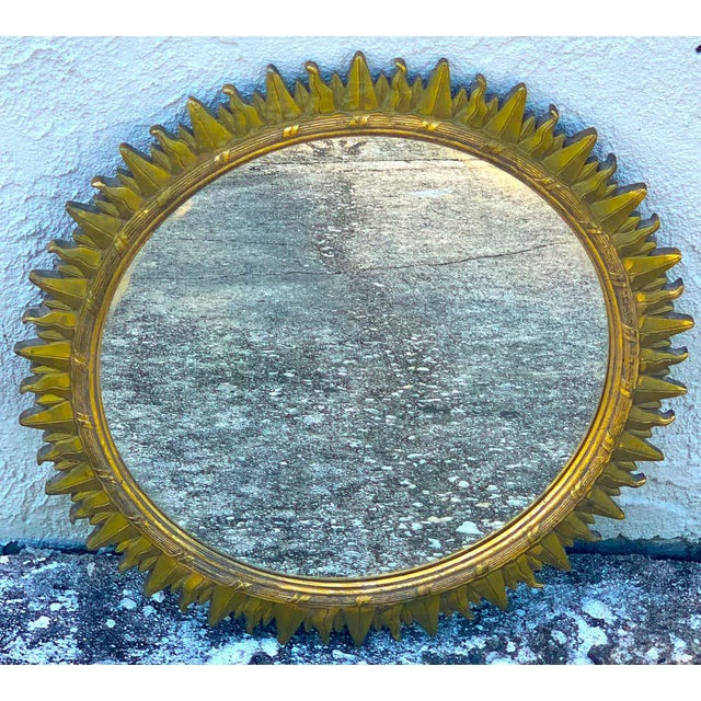French modern giltwood sunburst mirror, beautifully made with 16.5-inch diameter inset mirror plate. Ready to place.