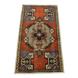 Turkish Handmade Vintage Carpet Decorative Wool Rug Traditional 2x3 Ft For Sale