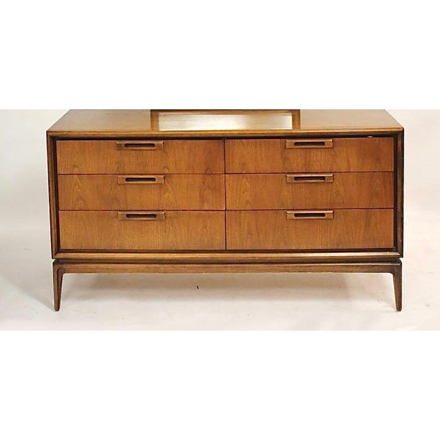 Wood Mid Century Walnut 6 Drawer Dresser For Sale - Image 7 of 7