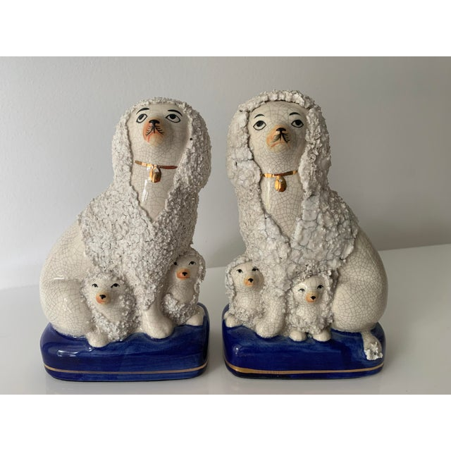 Vintage Staffordshire Poodles With Pups - a Pair For Sale - Image 11 of 11