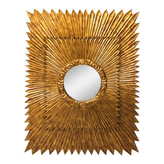 20th Century Art Deco Rectangular Starburst Mirror For Sale