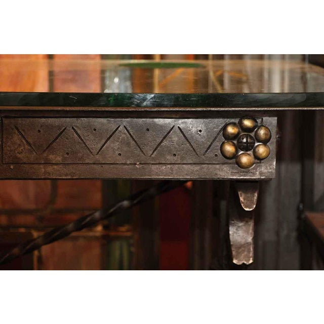 Traditional 1920s Traditional Samuel Yellin Wrought Iron Bank Table For Sale - Image 3 of 12