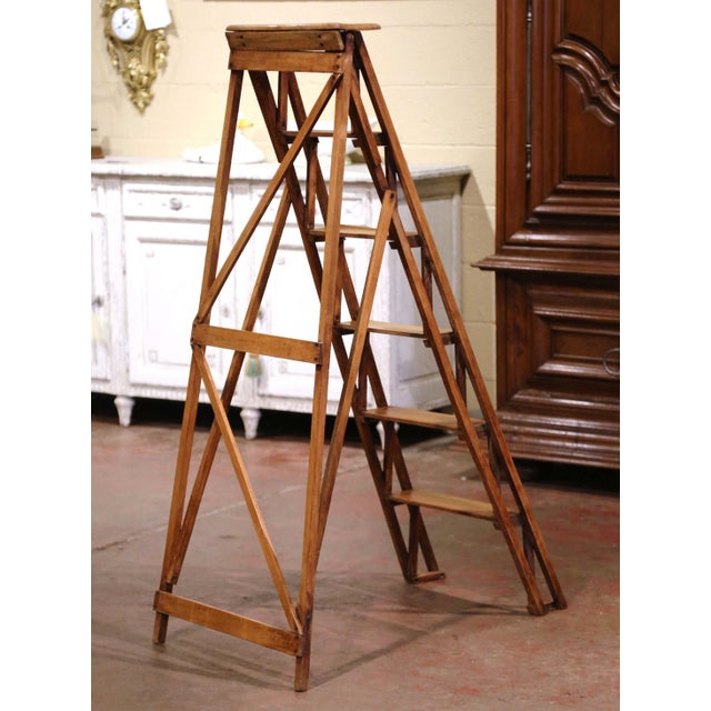 Brown 19th Century French Napoleon III Carved Walnut Folding Library Six-Step Ladder For Sale - Image 8 of 11