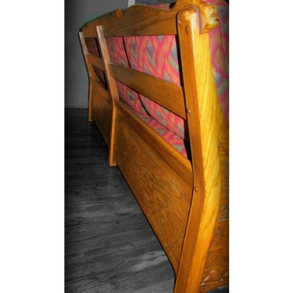 Romweber Viking Oak Carved Wood Low-Arm Sofa - Image 4 of 11