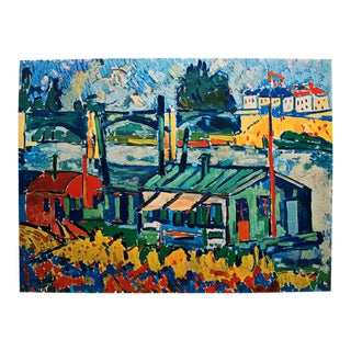 1930s Maurice Vlaminck, Wash-House Boats Original Period Swiss Lithograph For Sale