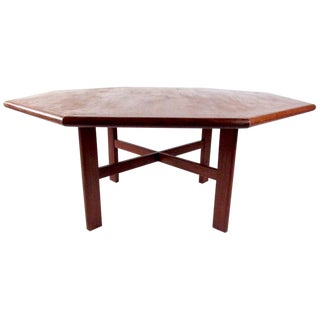 Massive Scandinavian Modern Teak Dining Table For Sale