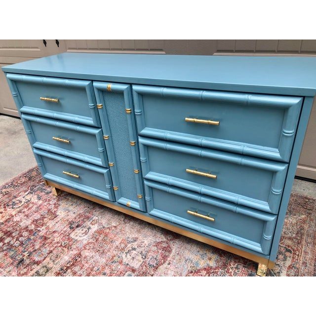 1970s Vintage Faux Bamboo and Caned Dresser For Sale - Image 5 of 13