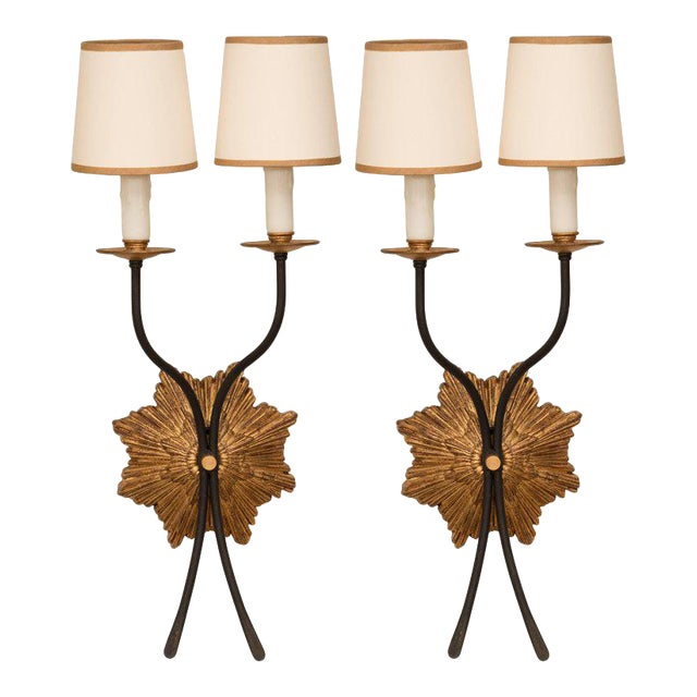 Pair of Gilt Iron Sconces For Sale