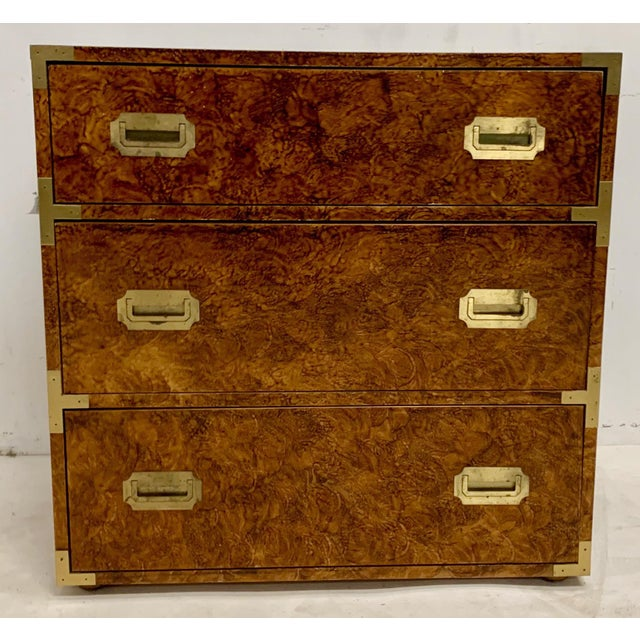 Gold 1970s Faux Tortoise Finished Campaign Dresser For Sale - Image 8 of 8